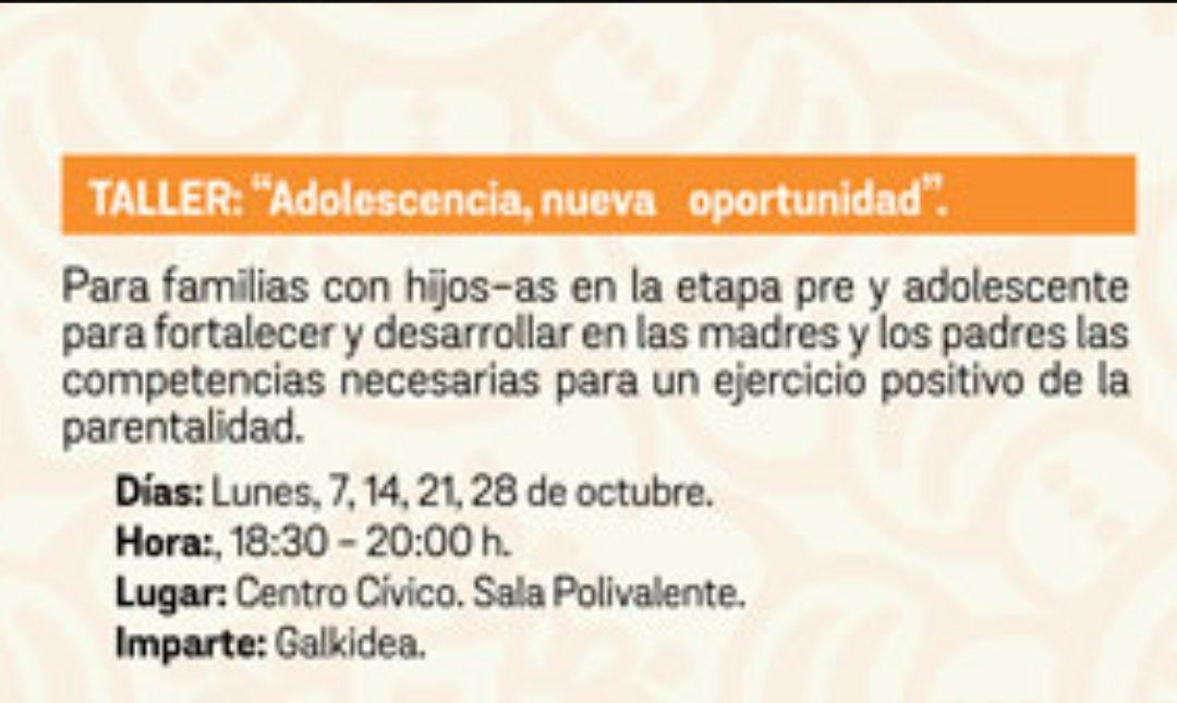 """Taller en Tafalla: """"Adolescencia, nueva oportunidad"""""""